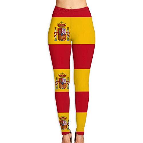 Deglogse Yogahosen, Trainingsgamaschen,Spain Flag Yoga Pants for Women Sport Tights Workout Running Leggings