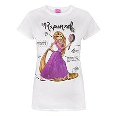 Idea Regalo - Disney - Tangled - Maglietta a Maniche Corte con Rapunzel - Donna (S) (Bianco)