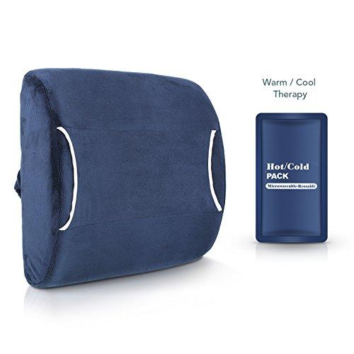 MARNUR Rückenkissen Lendenkissen Lordosenstütze mit Kalt-Warm Wiederverwendbar Coolpack Memory-Schaumstoff für Reise, Auto und Büro für Rückenschmerzen (Auto-bande)