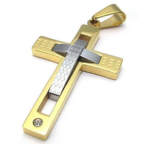 Epinki Homme Acier Inoxydable Bijoux De Mode Cha?nes Collier Pendentif Traverser Crucifix Or Argent 18 Inch