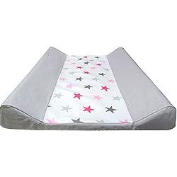 """Babymajawelt® Cambiador para bebé - 2 cuñas """"BIG STARS"""" (estrellas) - 50x70cm - funda de algodon (rosa)"""