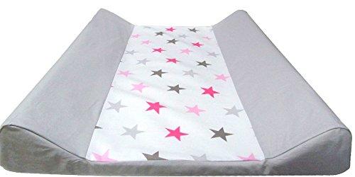 """Babymajawelt® Materassino fasciatoio """"BIG STARS"""" 50x70cm con due bordi rialzati + fodera in cotone (rosa)"""
