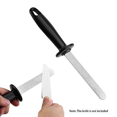 yosoo Messerschärfer Vorder- und Rückseite Messer Schleifstein Gewehr Profi Stahl Schleifgerät mit Halterung Rutschfest (Lange Gewehr Messer)