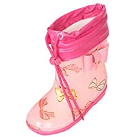 Lukis Unisex Kids Rain Boots Wellingtons Cute Cartoon Warm Lined Detachable Waterproof Anti Slip Rain Boots Wellies Shoes