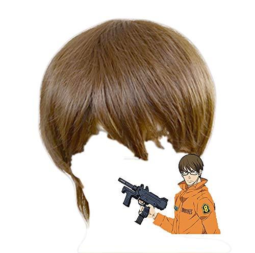 Takehisa Hinawa Perücke Cosplay Feuerwehr der Flammen Kurz Braun Glattes Haar Halloween Kostüm Zubehör für Erwachsene Teen ()