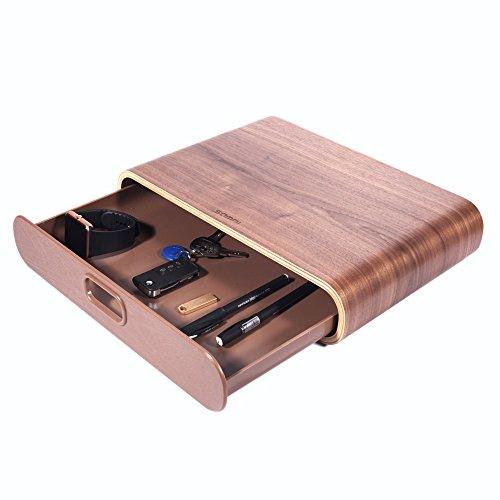 SAMDI Universal aus Holz Computer Monitor Ständer mit Schublade Heighen Dock Halter Steigen Stehen Display Halterung f¨¹r iMac Desktop PCs( Schwarze Walnuss)
