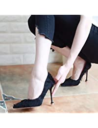Yukun zapatos de tacón alto Autumn Cat with High Heels Pointed Suede Shallow  Mouth Women s Shoes 4653bb84db91