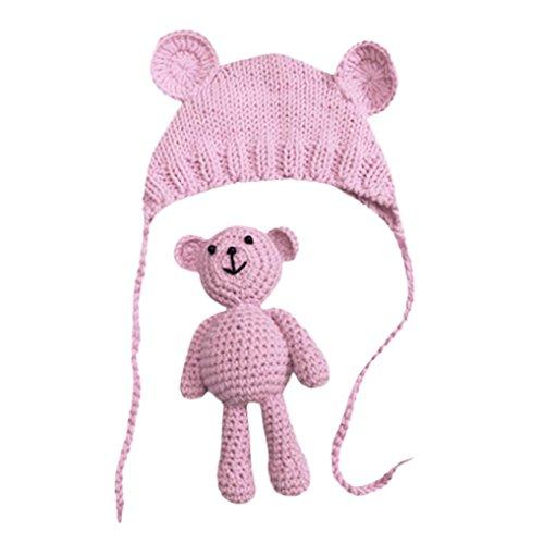 Babybekleidung Hüte & Mützen Longra Baby Mädchen Jungen Fotografie Stütze Mützen Foto Häkeln Strick Kostüm Bär + Hüte Set(0-6Monate) (Pink)