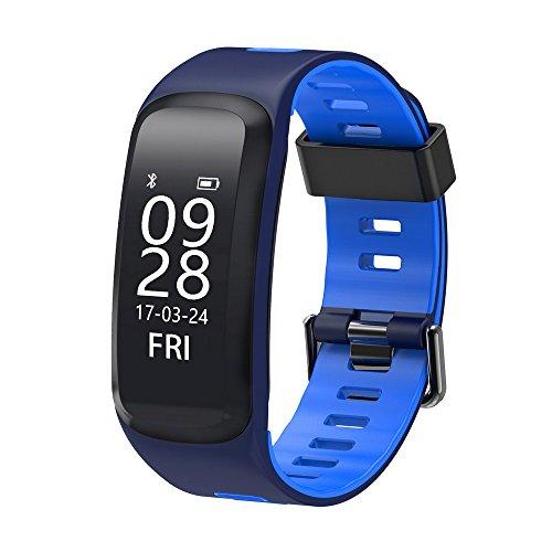 NO.1 F4 Pulsera inteligente, impermeable IP68, mide la presión arterial, el oxígeno sanguíneo y el ritmo cardíaco, para iOS y Android, azul