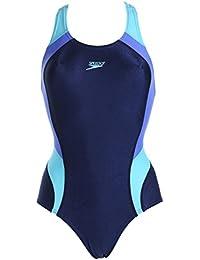 Speedo Mädchen Badeanzug Aqua perfekt für das tägliche Training sportlicher Einteiler mit rundem Ausschnitt und schlanker Silhouette, lichtbeständig, chlorresistent,Träger im Rücken mit Quersteg für sicheren Halt, 42-171-7497 (blau türkis, 152)