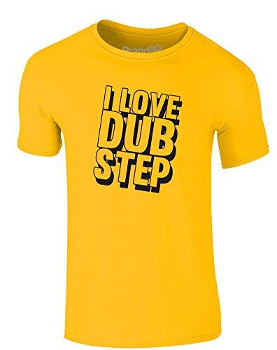 Brand88 - I Love Dub Step, Erwachsene Gedrucktes T-Shirt Gänseblümchen-Gelb/Schwarz