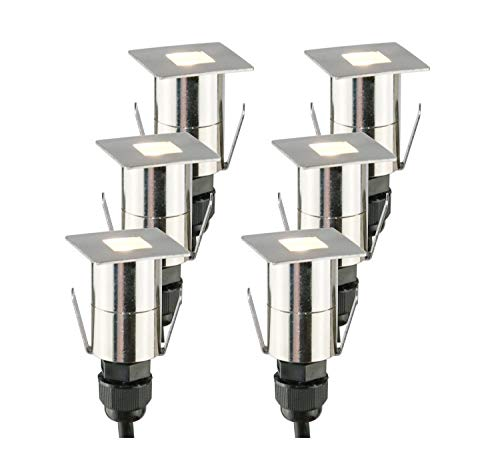 garten bodenleuchten VBLED Hochwertiges LED Bodeneinbauleuchten 6er-Set eckig aus Edelstahl inkl. Netzteil und Anschlusskabel