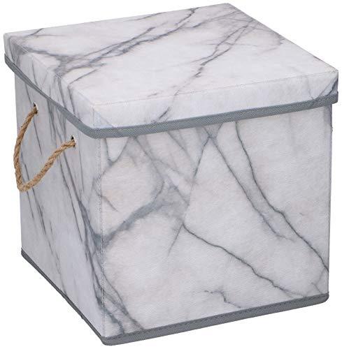 UrbanDesign Aufbewahrungsbox Aufbewahrung Lagerung Box Kiste faltbar mit Deckel und Trageseil aus Stoff in Marmor Optik (S)
