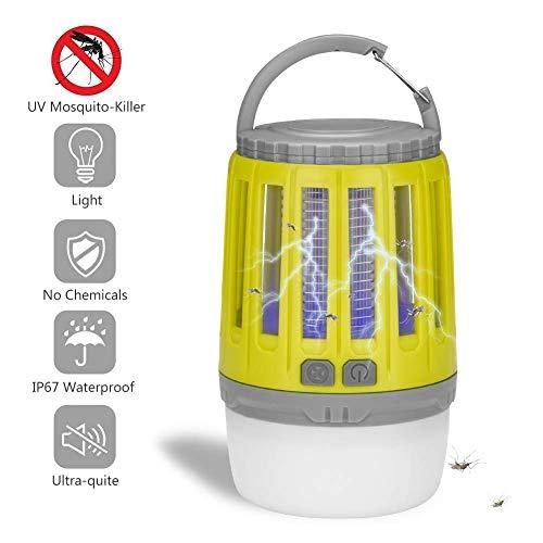 Along lanterna da campeggio antizanzare, insetticida elettronico portatile, 2 in 1 led luce notturna, luce uv, zanzara killer, gancio retrattile e paralume rimovibile