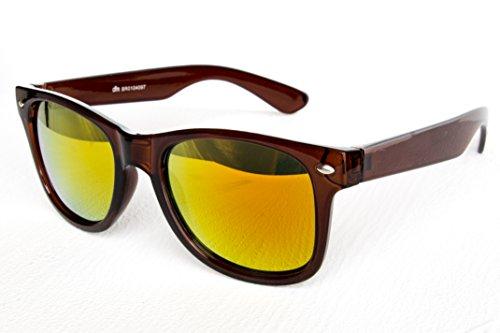 Nerd Sonnenbrille Wayfarer Stil Brille Pilotenbrille Vintage Look Dunkel Braun Feuer Verspiegelt