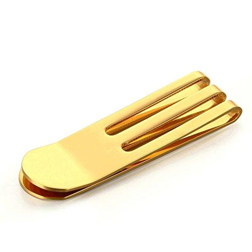 Edelstahl Money Clip Geldscheinklammer Für Männer Junge Geschäftsgeschenk Bargeldhalter Hoch Poliert Gold 53MMx15MM Onefeart