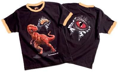 3D T-Shirt T-Rex Black/Tan Gr. S für Kinder von 6-7 Jahren (wie Gr. 128/134) (Shirt Tan-jungen)