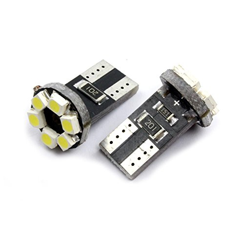 Jurmann Trade GmbH® T10 6 SMD LED Kennzeichenbeleuchtung / Innenraumbeleuchtung, w5w, CanBus, Xenon weiß, Kaltweiß Standlicht (Orange-streifen-polo)