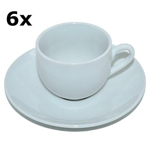 Porzellan Espressotassen Set 12-teilig - 6 Espresso-/Mokkatassen mit Untertassen weiß, zum Bemalen geeignet, 105ml, H5xØ6cm