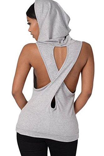 Frauen Ärmellose Kapuzen T Shirt Rückenfrei. Grey