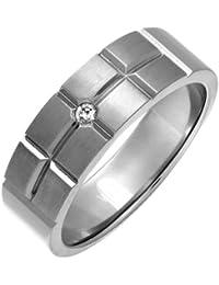 Theia Ring Titan Flach Court Diamant Matt und Ziegel Design 0.05ct