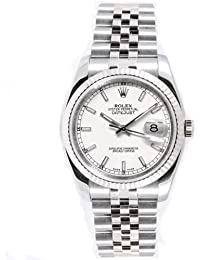 Rolex Mens New Style Heavy Band Stainless Steel Datejust Model 116234 Jubilee Band 18K White Gold Fluted Bezel White Stick Dial