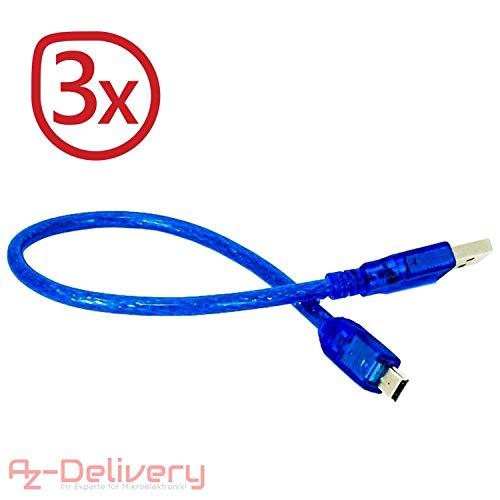 AZDelivery ⭐⭐⭐⭐⭐ 3 x blaues Mini USB Kabel für Arduino Nano V3.0,100% kompatibel mit Nano V3 Blau Usb Mini