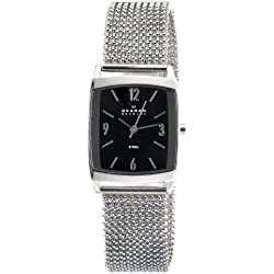 Skagen Designs Ladies Quartz Watch with Black Dial Analogue Display and Silver Stainless Steel Strap 691SSSB1