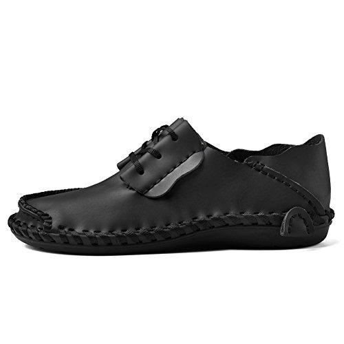 Homme Casual Fait à la main à lacets Chaussures en cuir véritable Noir