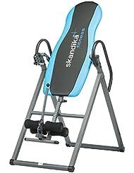 skandika Gravity Coach - Table d'inversion pliante pour exercices du dos (4 positions, rembourrage mousse, <135kg) - gris/bleu