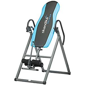SKANDIKA Gravity Coach - Table d'inversion Pliante pour Exercices du Dos (4 Positions, Rembourrage Mousse, 135kg) - Gris/Bleu