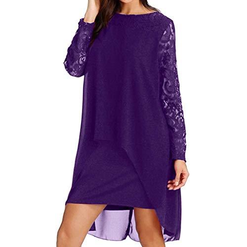KIMODO 2019 Neue Kleid Damen Chiffon Overlay Langarm Spitzekleid Frauen Unregelmäßiger Saum einfarbig Weise Partykleider Große Größen S-5XL -