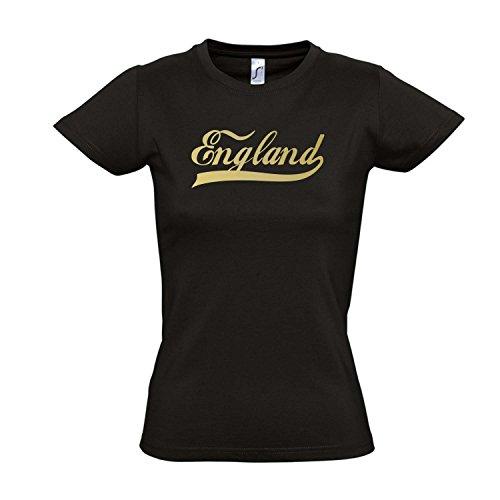 Damen T-Shirt - England Oldschool LÄNDERSHIRT EM / WM FAN Trikot S-XXL , Deep black - gold , XL