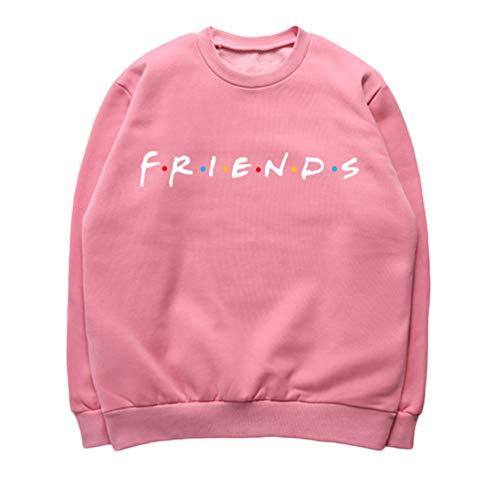 Haobing Damen Mädchen Hoodies Friends Brief gedruckt Casual Sweatshirts mit Taschen Partnerlook Langarm Pullover (Pink Weiß #Rundhals, CN 2XL)