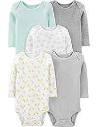 Simple Joys by Carter\'s 5-Pack Long-Sleeve Bodysuit Bebé-Niños, Pack de 5