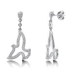 Idea Regalo - Berricle rodio placcato in argento Sterling e zirconia cubica, con pendente a forma di colomba Fashion orecchini
