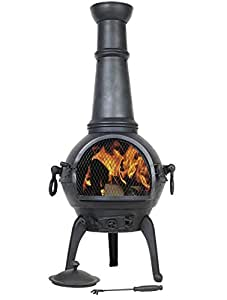 Black Lisbon 125cm Cast Iron Chiminea Chimenea Patio Heater