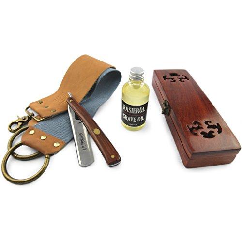"""A.P. Donovan - Hochwertiges 7/8"""" Rasiermesser Set mit Mahagoni Holzgriff, Rasieröl, Streichriemen (doppelseitig) und Schleifpaste - 4-Teilig"""