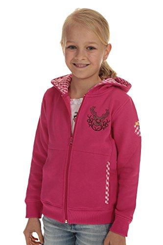 Isar Trachten Kinder Jacke Trachtenjacke Mädchen pink, Kapuzenjacke Kinder Sweatjacke mit Hirschstickerei