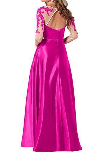 TOSKANA BRAUT Elegant Rund Damen Applikation Abendkleider Bodenlang Mutterkleider Mit Aermeln Ballkleider Navy