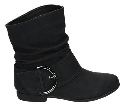 King Of Shoes Damen Stiefeletten Stiefel Boots Flache Schlupfstiefel Schnallen Winter Schuhe Warm Gefüttert 91-2 (36, Schwarz)