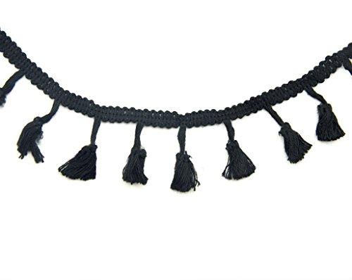 Hand® schwarzer Baumwolle Quaste Trim für Bekleidung, Zubehör und weich Ausstattung Verzierung - 45 mm breit - 3 Meter (Tassel-tool)