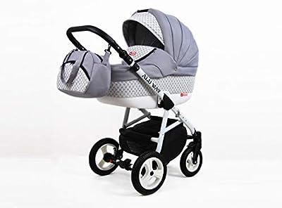 Kinderwagen Alu Way, 3 in 1- Set Wanne Buggy Babyschale Autositz (Silver)