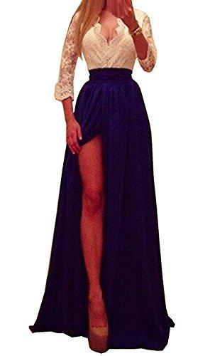 Donna Vestiti con Mezza Manica e V Collo Pizzo Abito Vestito Primavera Estivo da Casual in Crepe Vestito Lungo Aderente Maxi da Cerimonia con Apertura sull'Orlo Sera Partito Blu reale