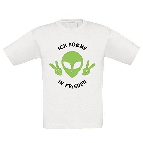 Kinder T-Shirt - Ich komme in Frieden - von SHIRT DEPARTMENT, weiss-schwarz, (Geschwister Kostüme Halloween)