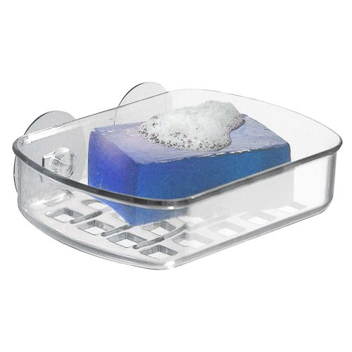 InterDesign Basic Soap Dish, Plastic Soap Tray with Two Strong Suction Cups, Clear