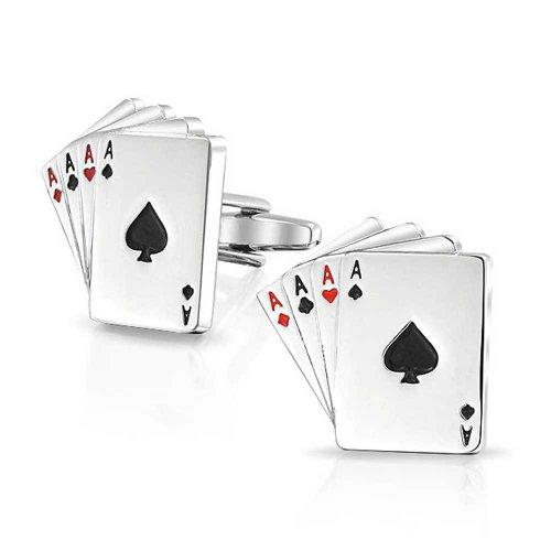 Bling Jewelry Bonne Chance 4 d'un Genre ACES Joueur De Poker Cartes Homme Chemise Boutons De Manchette Laiton Acier Couleur Argenté