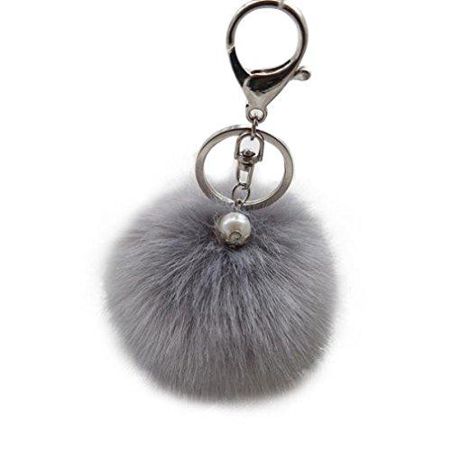 Preisvergleich Produktbild Oyedens Nette Weiche Kaninchenpelzkugel Keychain Beutel-PlüSch-Auto-SchlüSselanhäNger SchlüSselanhäNger (Grau)