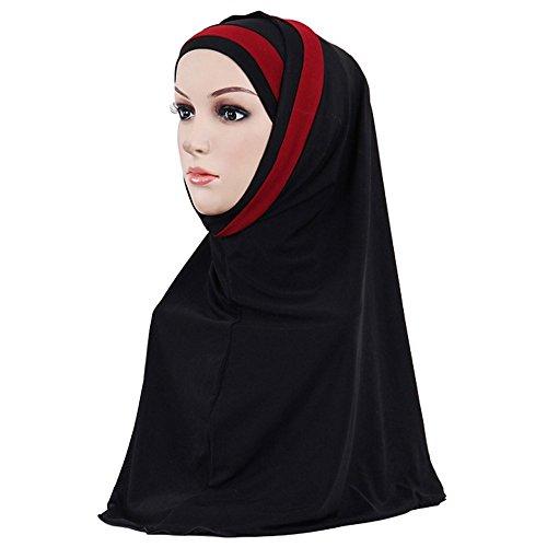 Muslim Damen Strecken Kopftuch Islamischen Abaya Dubai Frauen Elegante Gesichtsschleier Lose Turban Hidschab Schal Ramadan Kopfbedeckung Hijab Bandana (Schwarz)