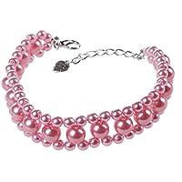 SODIAL(R) Drei Reihen Kuenstlich Perlen Verknuepft Haustier Hundehalsband Halskette S Rosa